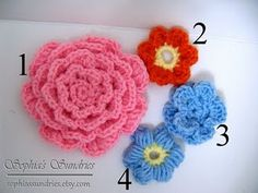 FREE dimensional crocheted flowers, patterns for all of them! great pin, thanks so xox