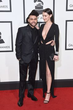 The Weeknd and Bella Hadid Make Their Red Carpet Debut at the Grammys