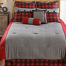 Complete your cabin retreat with the Larissa Plaid Comforter Set. Decked out in a plaid pattern in shades of grey, red and black, the rustic bedding is the perfect way to create a warm and cozy feel in your bedroom. Red Bedding Sets, King Comforter Sets, Blue Bedding, Plaid Bedroom, Gray Bedroom, Trendy Bedroom, Ux Design, Plaid Comforter, Bed Sheets Online