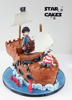 Tarta Barco Pirata Infantil - Children's Pirate Ship cake  Síguenos en https://www.facebook.com/starcakes.es  #tartasfondant #sculptedcake #cake #fondant #pirateship #pirate #pirates