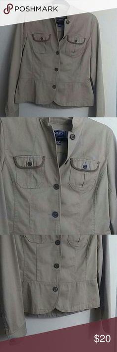 Chaps denim blazer Tan button up blazer great condition 100% cotton Chaps Jackets & Coats Blazers