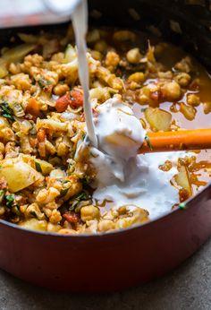Vegan Cauliflower, Potato, and Chickpea Curry - A Beautiful Plate Curry Recipes, Veggie Recipes, Indian Food Recipes, Whole Food Recipes, Vegetarian Recipes, Cooking Recipes, Healthy Recipes, Vegan Foods, Vegan Dishes