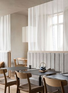Norm Architects have completed the interior design of the first Sticks 'n' Sushi restaurant in London, located on King's Road in. Bar Restaurant Design, Restaurant Chairs, Cafe Restaurant, Cafe Interior, Interior Exterior, Interior Design, Japanese Restaurant Interior, Scandinavian Restaurant, Scandinavian Interior