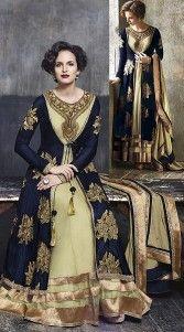 Cream And Dark Blue Micro Velvet Unstitched Suit Fabric AG727245