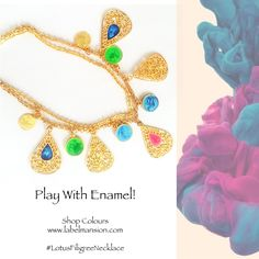 Play with Enamel! Shop colours here at Label Mansion Necklace: http://www.labelmansion.com/lotus-filigree-necklace.html  #enamel #jewels #jewellery #necklace #neckpiece #labelmansion #shoponline #welove #india