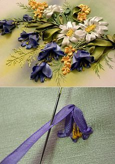 Wonderful Ribbon Embroidery Flowers by Hand Ideas. Enchanting Ribbon Embroidery Flowers by Hand Ideas. Ribbon Embroidery Tutorial, Silk Ribbon Embroidery, Embroidery Stitches, Embroidery Patterns, Hand Embroidery, Embroidery Blanks, Embroidery Bracelets, Cross Stitches, Embroidery Techniques