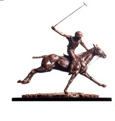 #Bronze #sculpture by #sculptor Lorne Mckean titled: 'Going for Goal (Little Polo Pony Player statuettes)'. #LorneMckean