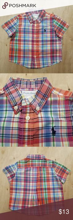 6M Infant Boy Ralph Lauren Polo Plaid Button Shirt ☆Excellent condition  ☆Clean, stain free  ☆Smoke and pet free  ☆ No holds/trades Polo by Ralph Lauren Shirts & Tops