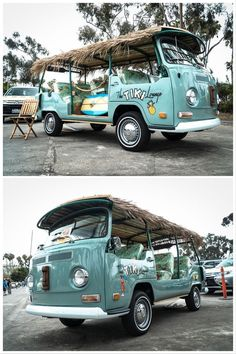 """Say aloha to a 1971 Volkswagen Bus called """"The Tiki Lounge"""" that was restored and designed by owner Jim Cocores of San Clemente, California. Tap the link for the complete gallery. Volkswagen Bus, Vw Bus T2, Vw T1, Vw Minibus, Van Vw, Beach Cars, Tiki Lounge, Combi Vw, Beach Buggy"""