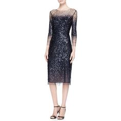 navy dress with sheer sequined overlay; Monique Lhuillier 3/4-Sleeve Sequined Illusion-Trim Sheath Dress