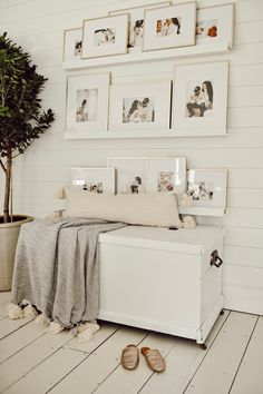 DIY Picture Ledge Gallery Wall - Liz Marie Blog Gallery Wall Frames, Frames On Wall, Gallery Walls, Wall Collage, Gallery Wall Shelves, Rustic Gallery Wall, White Frames, Photo Frame Display, Photo Displays