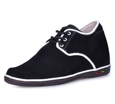 handmade get tall shoe - Black men elevator casual shoes become taller 7cm / 2.75inches from Topoutshoes store