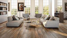 El color de la madera cerezo y sus vetas muy marcadas se reproducen fielmente en cada pieza cerámica de imitación. Son suelos con personalidad y estilo propio, protagonista de la decoración de estilo rustico mas elegante