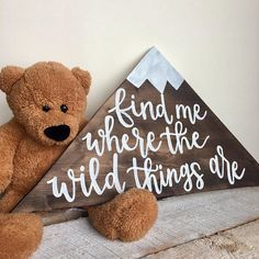 Find Me Where The Wild Things Are // Mountain Peak Cutout Wood Sign // Nursery D. Find Me Where The Wild Things Are // Mountain Peak Cutout Wood Sign // Nursery Decor // Kids Room / Nursery Signs, Room Signs, Nursery Themes, Nursery Room, Nursery Ideas, Boy Nursery Letters, Room Ideas, Decor Ideas, Girl Nursery