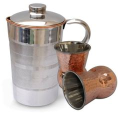 Drinkware Set Jug with 2 Tumblers Steel Copper Kitchenware from India