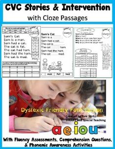 These 25 Decodable stories focus on the CVC pattern with comprehension questions and fluency assessments. If you need a distance learning digital google slides option please go here. These are fully decodable with some carefully placed sight words and cloze passages which help with fluency and compr... Dyslexia Activities, Sensory Activities, Teaching Reading, Learning, Dysgraphia, Gillingham, Struggling Readers, Comprehension Questions, Sight Words