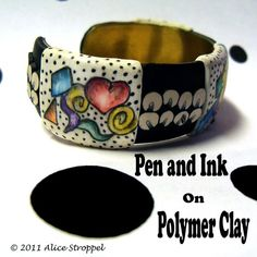 Tutorial  Pen and Ink on Polymer Clay by AliceStroppel on Etsy, $10.00