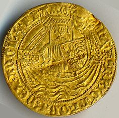 Quarter Noble of Edward III (r. 1327–77)  Date: 1327–77 Culture: English Medium: Gold Dimensions: Overall: 1 1/16 x 1/16 in. (2.7 x 0.1 cm) Classification: Coins  Accession Number: 99.35.7414