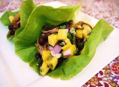 mexican black bean + slow-cooker pork lettuce wraps....healthy!