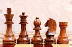 Hand made German Staunton Chess Pieces in Golden by DesignerChess