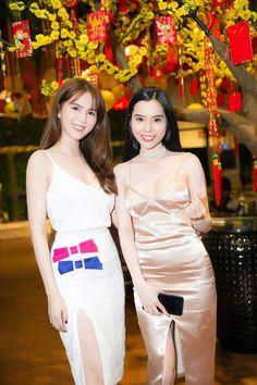 Người đẹp Ngọc Trinh và Huỳnh Vy xuất hiện tại một sự kiện trong chiếc váy hai dây quyến rũ Photo: T...