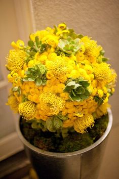 Beautiful #yellow floral arrangement {Mike Arick Photography}