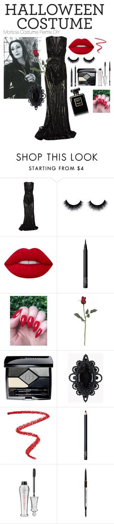 """""""Mortician Halloween Costume Remix"""" by jmonroe0817 on Polyvore featuring Zuhair Murad, Lime Crime, NARS Cosmetics, Christian Dior, Dsquared2, Benefit, Marc Jacobs, Halloween, halloweencostume and DIYHalloween"""