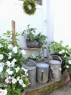 Vintage metal watering cans as lively garden decor