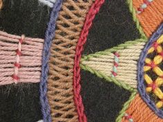 Helvi Taisto: Kirjottuja peittoja ennen ja nyt 1979 - detail of wool embroidery Scandinavian Embroidery, Swedish Embroidery, Wool Embroidery, Cross Stitch Embroidery, Embroidery Designs, Textiles, Textile Patterns, Small Sewing Projects, Textile Fiber Art