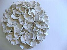Hydrangea Wall Art hydrangea ball sculpture white clay flower 3d wall art