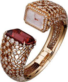 Rosamaria G Frangini High Whatch Jewellery TJS CARTIER Evening Shadows High Jewelry Watch with quartz movement, pink gold, tourmaline, diamonds (=) High Jewelry, Luxury Jewelry, Bling Jewelry, Diamond Jewelry, Jewelry Accessories, Fashion Accessories, Fashion Jewelry, Jewelry Design, Gold Jewellery