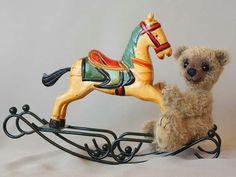 Rider Artist Teddy Bear  with Rocking Horse OOAK by MrBearFamily, $79.00