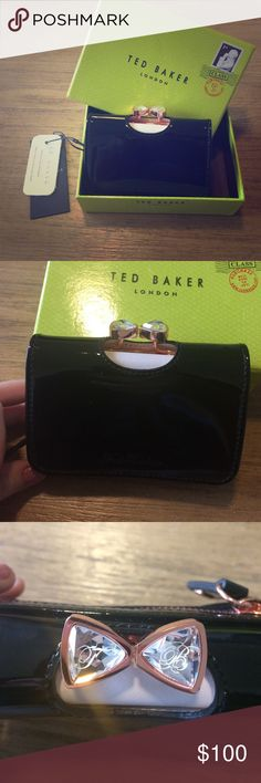 NWT 💯% Authentic Ted Baker leather wallet Ted Baker real leather wallet or small purse with bow crystal accent on top. Black patent leather exterior with pink leather interior. Inside opens to large coin purse section and large bill and card section with lots of space for all of your wallet essentials. Also includes small back zipper coin purse. New with tags and box. Sold out online and in stores.  Dimensions H10cm x W12cm x D3.5cm Ted Baker Bags Wallets