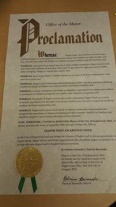 Englewood, OH - Mayoral proclamation recognizing Diaper Need Awareness Week (Sept. 28 - Oct. 4, 2015) #DiaperNeed www.diaperneed.org