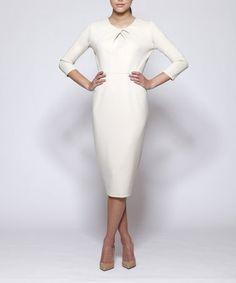 Beige Lexington Three-Quarter Sleeve Dress by emploi New York #zulily #zulilyfinds