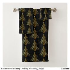 Black & Gold Holiday Trees Bath Towel Set Bath Towel Sets, Bath Towels, Holiday Tree, Christmas Items, Holiday Outfits, Christmas Card Holders, Keep It Cleaner, Colorful Backgrounds, Black Gold