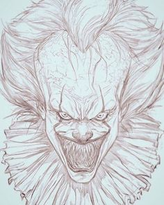 """thedonk24: """"Bill Skarsgard-Pennywise digital sketch on the Ipadpro and Procreate app. Sketch by me """""""