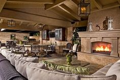 Outdoor living room fireplace kitchen furniture seating