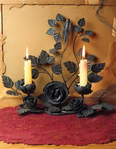 """THORNY ROSE GOTHICA CANDLE STAND This dramatic decorative is a striking accessory to a creative romantic home. Candles not included. 10x11"""". VTC exclusive!"""