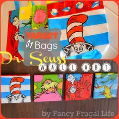 $1 Bin Dr. Seuss Wall Art! She used Dr. Seuss themed gift bags and stretched them over a canvas. Genius! I will have a Dr. Seuss themed room one day!