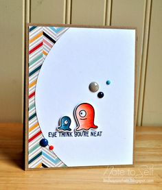 A clean and simple monster card using Lawn Fawn stamps, and Pink Paislee patterned paper!