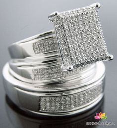 14K White Gold Trio his / her Engagement Ring band set 925 Silver .65CT Diamonds #aonedesigns