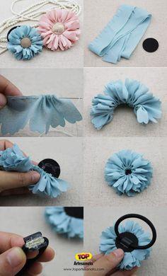 Como fazer flor de tecido para cabelo