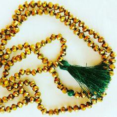Gold And deep green necklace # handmade Frago-là