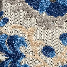 Nourison Aloha 10' Runner Blue Patio Area Rug | Ashley Furniture HomeStore Outdoor Runner Rug, Indoor Outdoor Area Rugs, Rug Runner, Blue Patio, Summer Shades, Plush Pattern, Shades Of Gold, At Home Store, Contemporary Decor