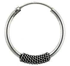"""Sterling Silver Medium Bali Hoop Earrings, 1"""" diameter"""