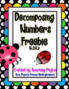 Decomposing Numbers K.OA.3 - Freebie - MrsPayton - TeachersPayTeachers.com Subtraction Kindergarten, Numbers Kindergarten, Kindergarten Math Activities, Montessori Math, Fun Math, Teaching Math, Preschool Kindergarten, Teaching Ideas, Maths
