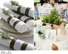 napkin ideas {see if bar will let you borrow 40 napkins for guests two weeks before so we can create cute unique napkins for guests} {Love the simplicity of the herbs added to each piece} Birch Centerpieces, Wooden Box Centerpiece, Herb Wedding, Wedding Flowers, Chic Wedding, Wedding Table, Rustic Wedding, Dream Wedding, Affordable Wedding Photography