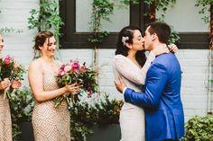 ceremony kiss - photo by Pat Furey http://ruffledblog.com/art-deco-inspired-brooklyn-wedding