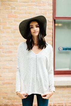 V-neck Thermal Long Sleeve Blouse- Oatmeal | | THE ROSE NEST